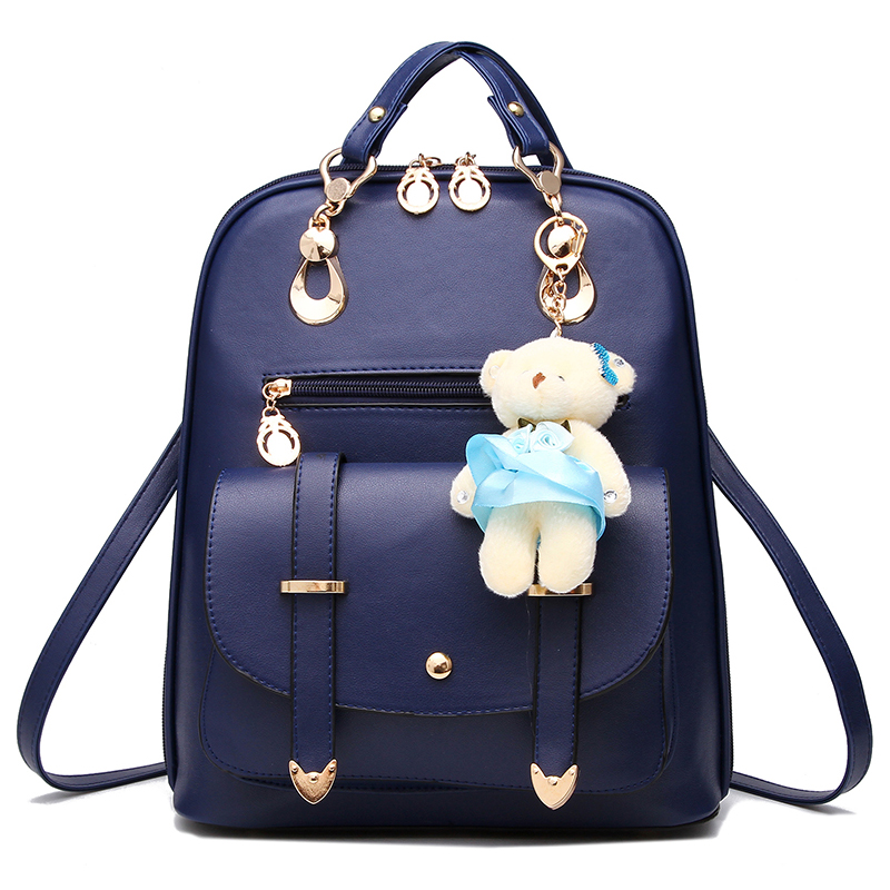 2016 New Latest Simple Backpack PU Leather School Bag Wonderful Double Roots Straps For Girls