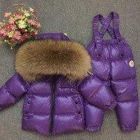 Boy Winter Ski Suits 2018 90% White Duck Down Jacket Girl Suit Overalls Children's Sportswear Baby Fashion Clothing Waterproof