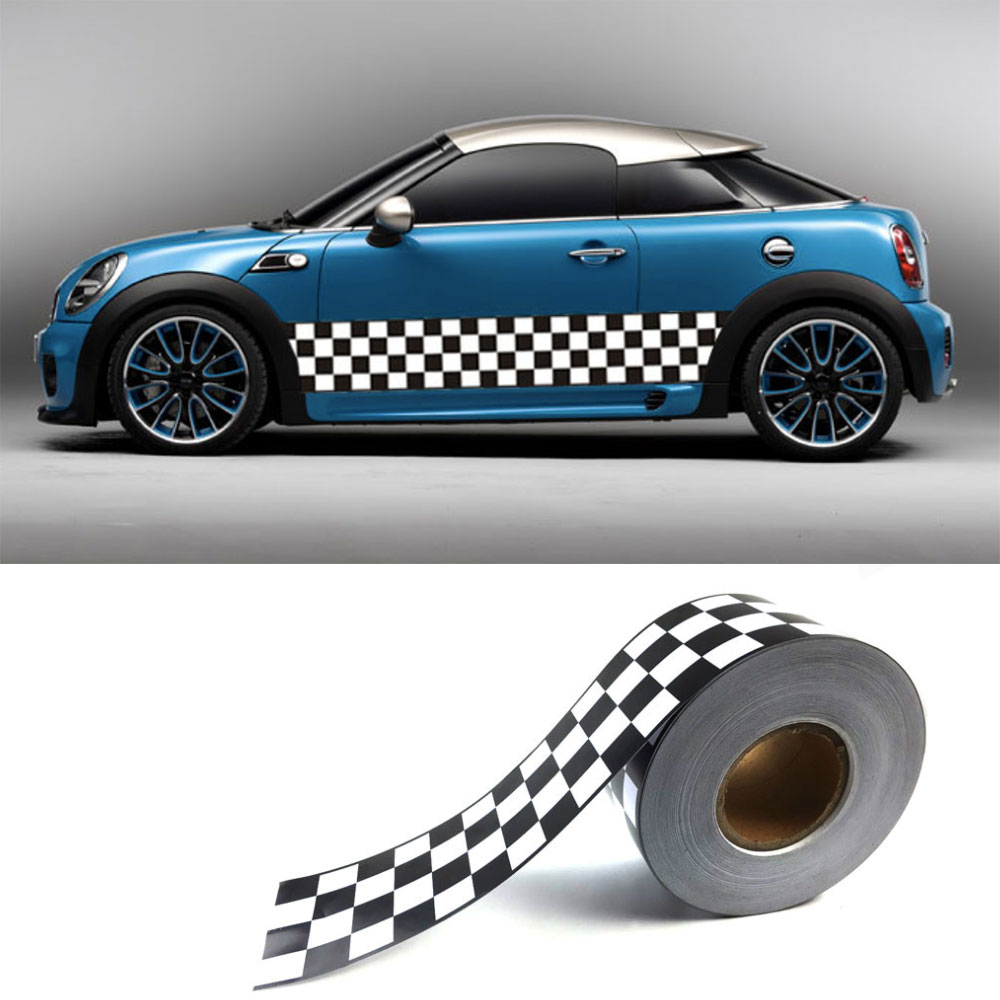 10cm width Plaid Flag F1 Rally Racing Sticker waterproof Anti-scratch Car Paint Protection Strip