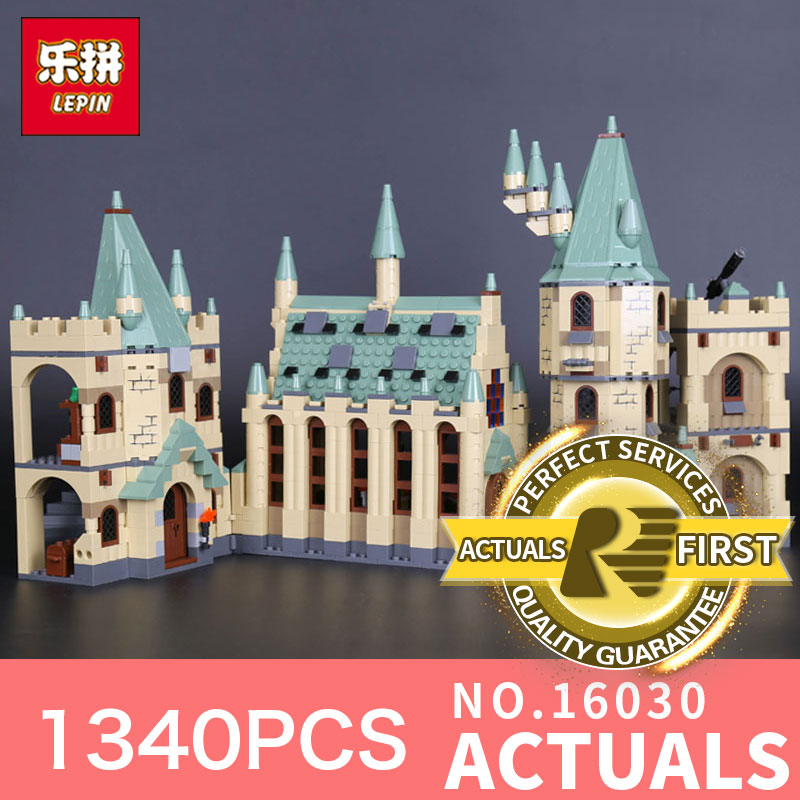 New 1340Pcs Lepin 16030 Movie Series The Hogwarts castle Set Model Building Block Set Compatible with 4842 Kids Toy Model lepin 16030 1340pcs movie series hogwarts city model building blocks bricks toys for children pirate caribbean gift