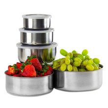 5 Pcs BPA Free Stainless Steel Food Storage Bowl with Lid Home Kitchen Accessories 8  DC120