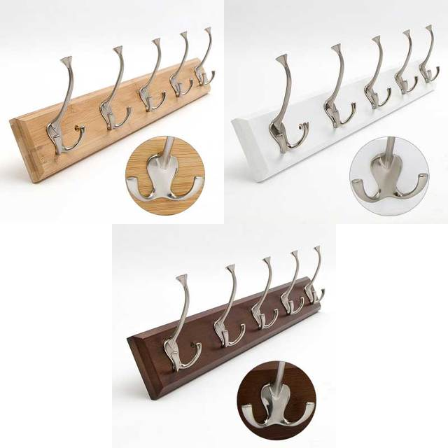 Bamboo base with 5pcs metal hook coat hanger, wall mount holder,