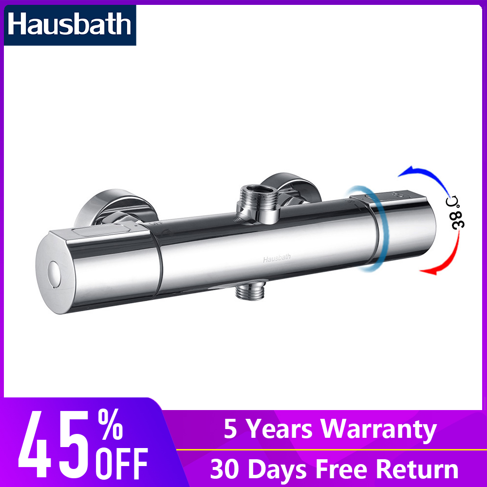Bath Shower Faucet Thermostatic Faucet Mixer Tap Temperature Control Chrome Finished Wall Mounted Bathroom Shower Set luxury high quality bathroom chrome rain shower set thermostatic shower faucet bath