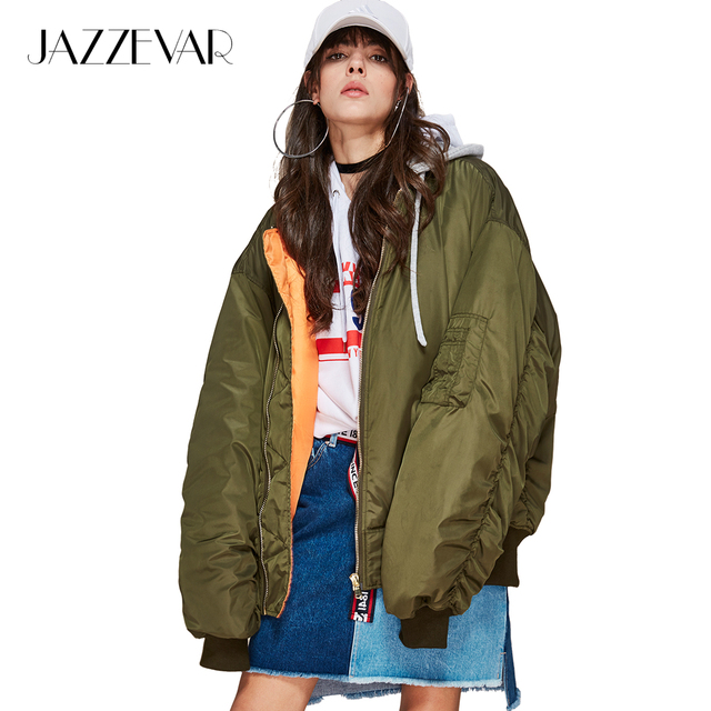 JAZZEVAR new winter high fashion street women s hooded bomber jacket coat  oversize X-Long sleeves 08ebdb2b545d