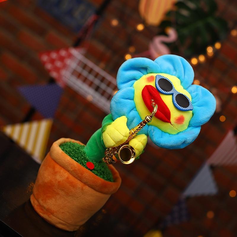 Enchanting Flower Saxophone Sun Music Dancing Singing Electric Plush Dancing Pots Simulation Funny Toys for Kids Childrens Gift