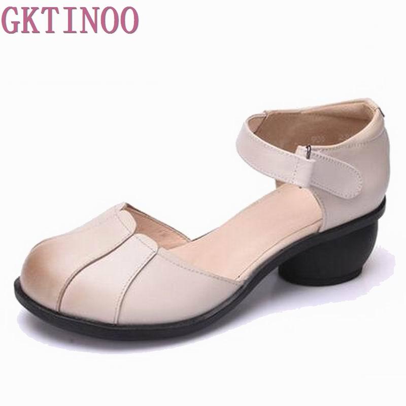 Summer Shoes Woman handmade Genuine Leather Soft Sandals Casual comfortable Women Shoes 2019 New Fashion Women
