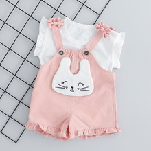 Summer Baby Girl Clothes Set Short Sleeve Cartoon Cat T-shirt+Belt Trousers 2pcs Baby Girl Outfit Newborn Little Girls Clothing 2pcs baby girl set cotton t shirt baby girl clothes girls clothing sets short sleeve skirts casual 2pcs girls suits