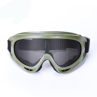 2016 New Army Green Airsoft Tactical Metal Mesh Eyes Protection Goggle Glasses Eyewear