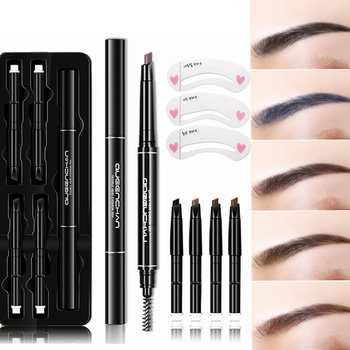 8 Pcs Set Eyebrow Pencil Brow Stencils Kits Waterproof Long Lasting Tattoo Pen Double-head Automatic Rotate Eyebrows Eyes Makeup