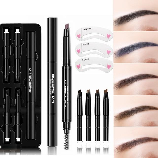 8 Pcs Set Eyebrow Pencil Brow Stencils Kits Waterproof Long Lasting Tattoo Pen Double-head Automatic Rotate Eyebrows Eyes Makeup