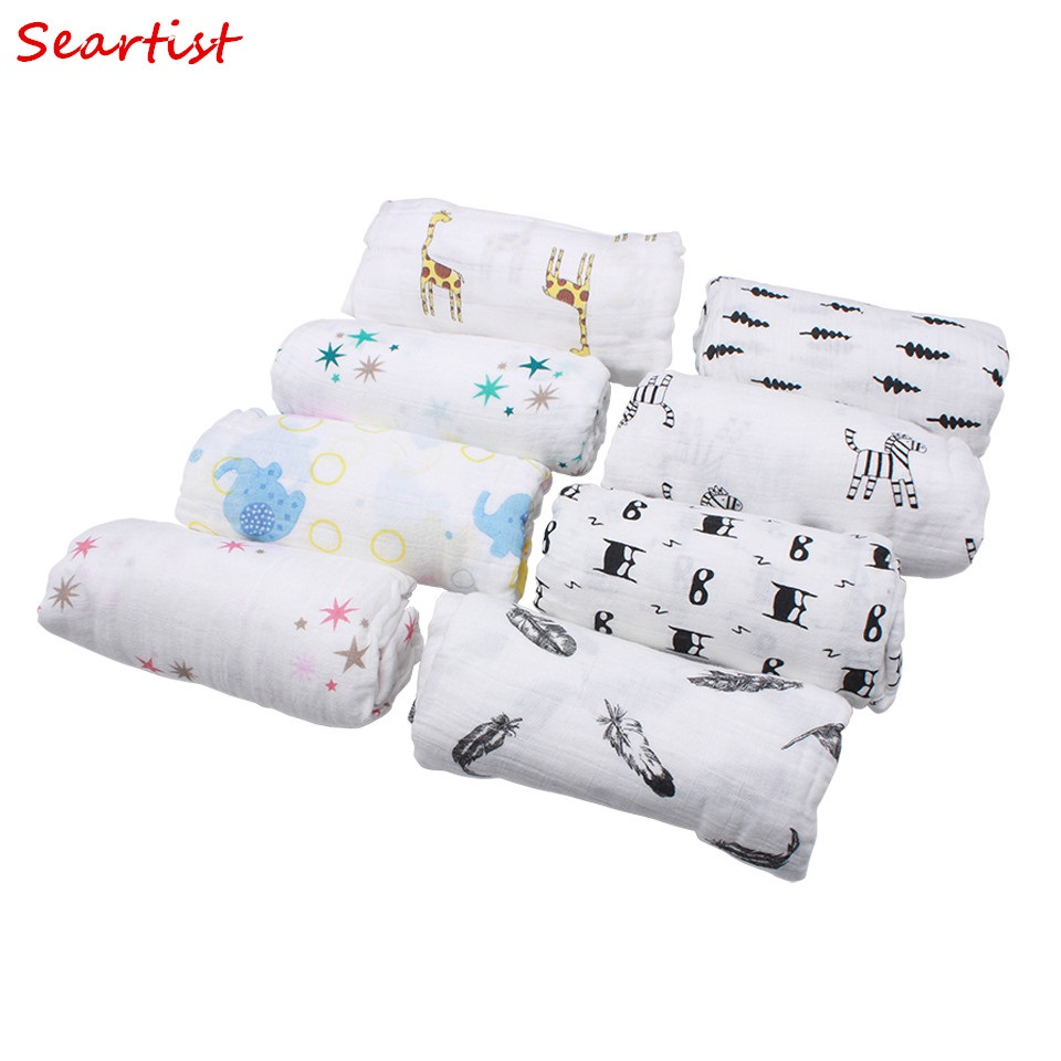 Seartist Newborn Muslin Swaddle Blanket Infant 100%Cotton Double Gauze Hold Wraps New Baby Soft Bath Towel  1.2m*1.2m 185g 30C