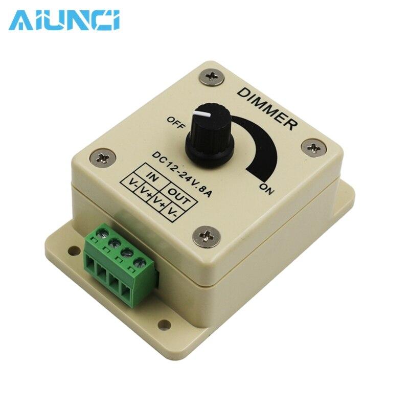 Alert Led Dimmer Switch Dc 12v-24v 8a Adjustable Brightness Lamp / Bulb / Strip Driver Single Color Light Power Supply Controller