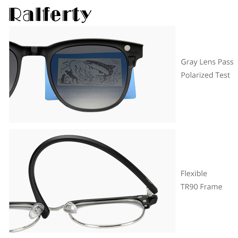 Image 3 - Ralferty Ultra light TR90 Magnetic Clip On Sunglasses Men Women Polarized UV400 Sunglases Prescription Eyewear Frame With Case-in Men's Sunglasses from Apparel Accessories