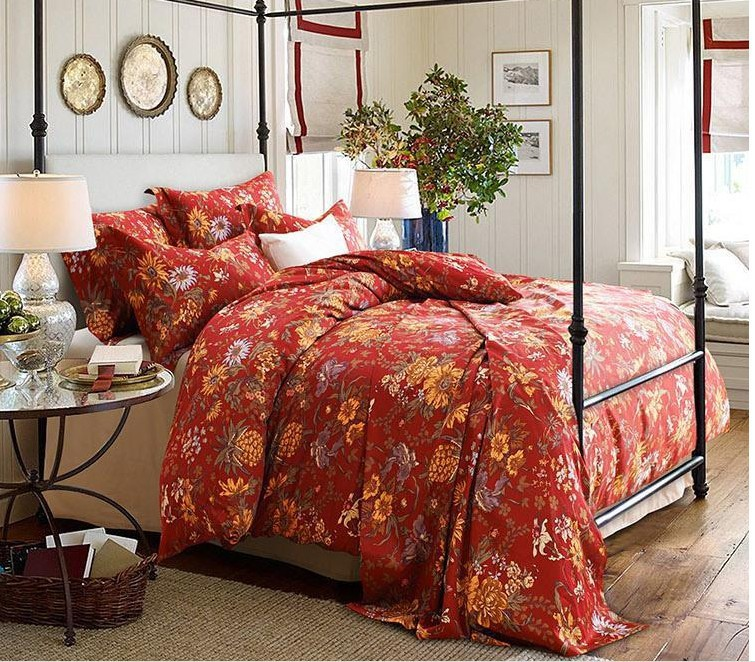 Luxury Red Floral Bedding Set 100 Egyptian Cotton Sheets