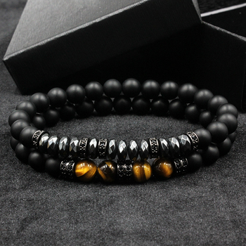 2018 2pcs/set Brand New Fashion Pave CZ Men Bracelet 8mm Matte Beads with Hematite Bead Diy Charm Bracelet For Men Jewelry