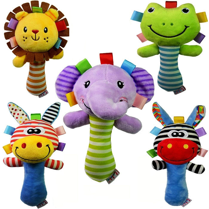 Baby Soft Rattle Squeaker Cartoon BB Sounder Toy Early Education Doll Elephant Giraffe Lion Frog Plush Animal Hand Rattle Bell