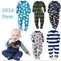 2016 nova menino baby One-piece, macio velo roupa dos miúdos Macacões Pijama bebê menina meninos roupas trajes bebê bebes 12m-4y