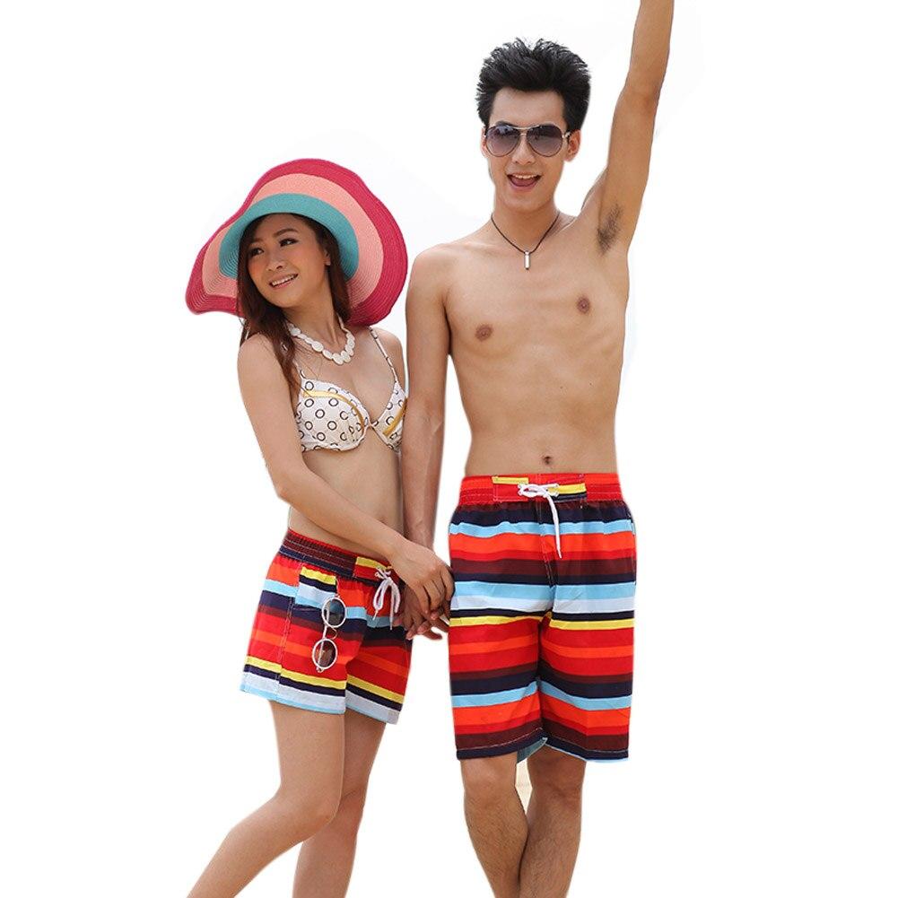 Prix pour Nouveau Short De Bain Pour Couple D'été Surf Conseil Amant Plage Sports Nautiques Maillots De Bain Plage De Détente De Natation Deux Pièces Sépare