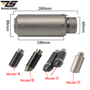 ZS Racing 38-60mm Universal Short Exhaust Muffler Tip Pip Silp On Motorcycle Silencer Exhaust System For CB600 FZ400 Aerox
