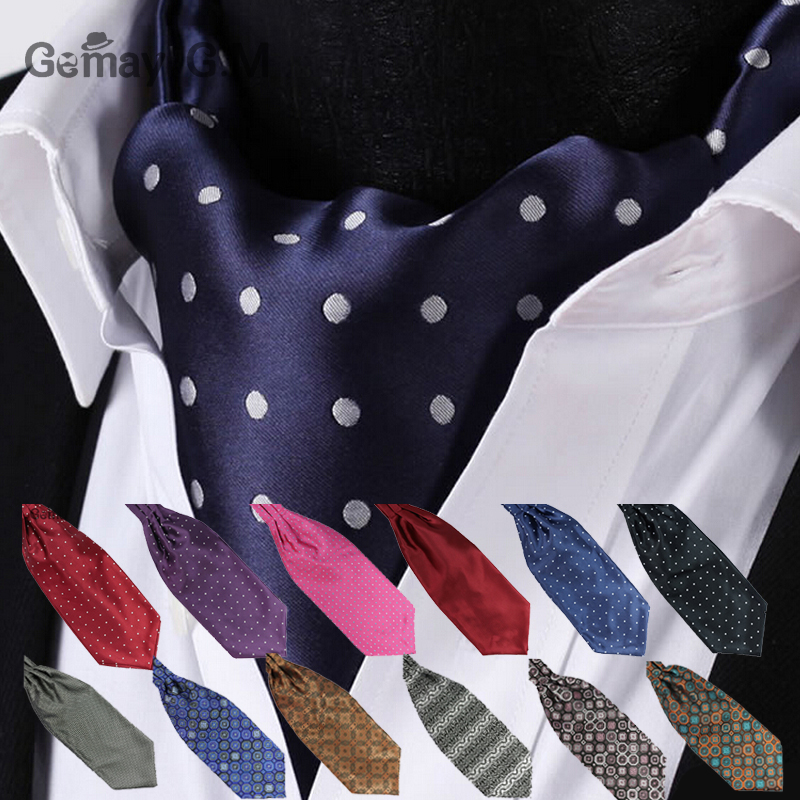 Ascot Tie Cravat Luxury Mens Dots Neck Tie Self Tie  For Men Wedding Necktie