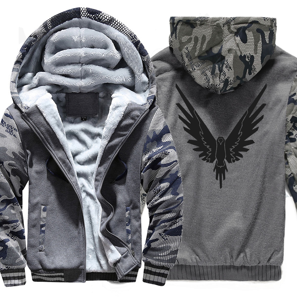 Male Brand clothing Large size velvet hip hop Casual Outwear Coat for Men Urban Class Warm camo jacket Masculino winter jacket
