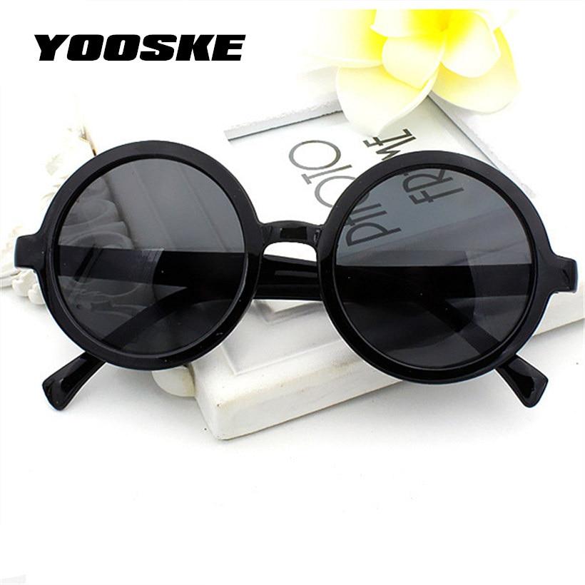 YOOSKE Vintage Small Round Sunglasses Women Men Classic Retro Coating Sun Glasses Driving Eyewear Black Red Glasses