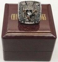 Stanley Cup Nhẫn 2009 Pittsburgh Penguins Kẽm Hợp Kim mạ bạc Thể Thao Replica World Vòng Vô Địch Với Hộp G