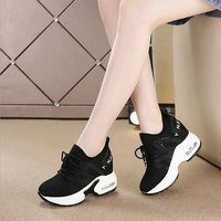 Female Women Black white Vulcanized Shoes Casual Wedge Platform shoes Band High heel 4cm Increasing Ladies Sneakers Shoes WW 20
