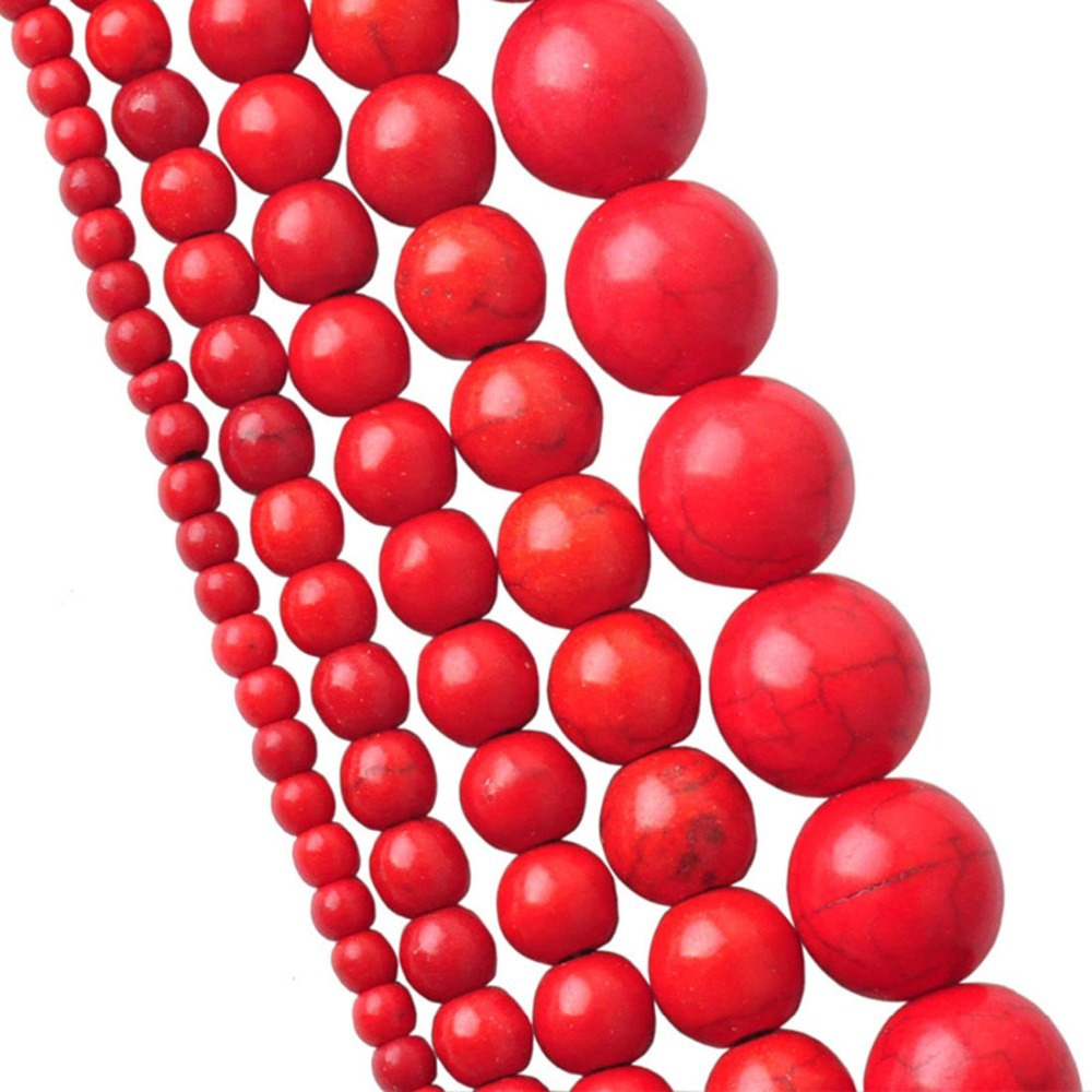 New LNRRABC Sale High Quality Handmade Red Round Stone Beads Semi-finished Products For Necklace Bracelet 4 6 8 10 12mm