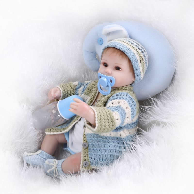 ФОТО Handmade 17 Inch reborn dolls lifelike silicone soft newborn baby doll realistic boy babies gift for children Christmas gift