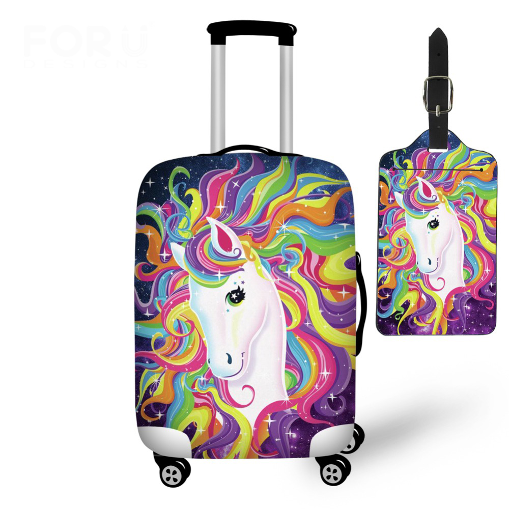 Cartoon Unicorn Travel On Road Luggage Protective Dust Cover Tag Elastic 18-28inch Waterproof Trolley Suitcase Cover