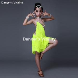 Image 4 - New Children Latin Tassel Dancing Skirt Childs Rumba Samba ChaCha Latin Competition Dance Dresses Latin Costumes For Girls