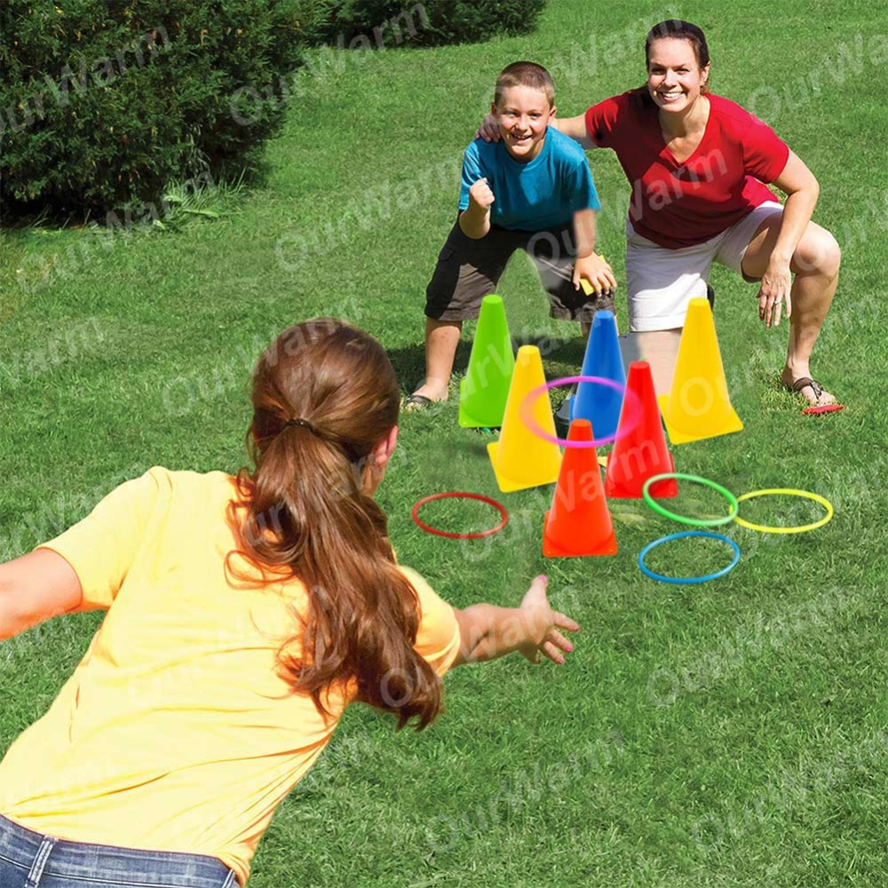 OurWarm 3 In 1 Birthday Party Games Traffic Cone Ring Toss Game Quoits Throw Hoop Indoor Outdoor Family Games School Supplies in Party DIY Decorations from Home Garden