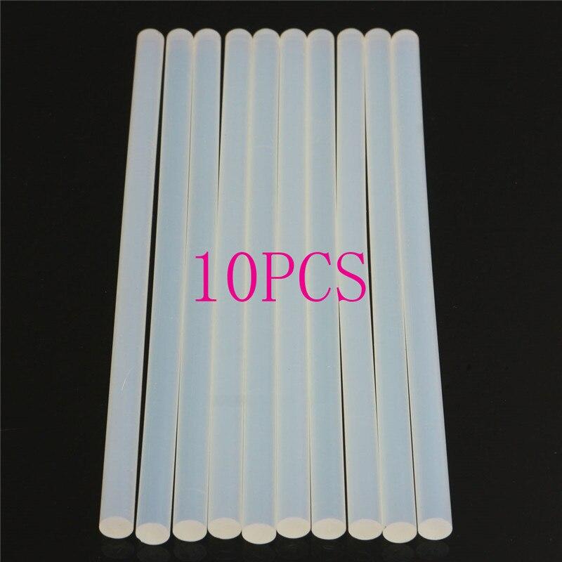 10pcs 11mm Non-Toxic EVA Clear Hot Melt Glue Sticks 11mmx200mm For Glue Gun Craft Album Repair Solid Color Accessories Adhesive