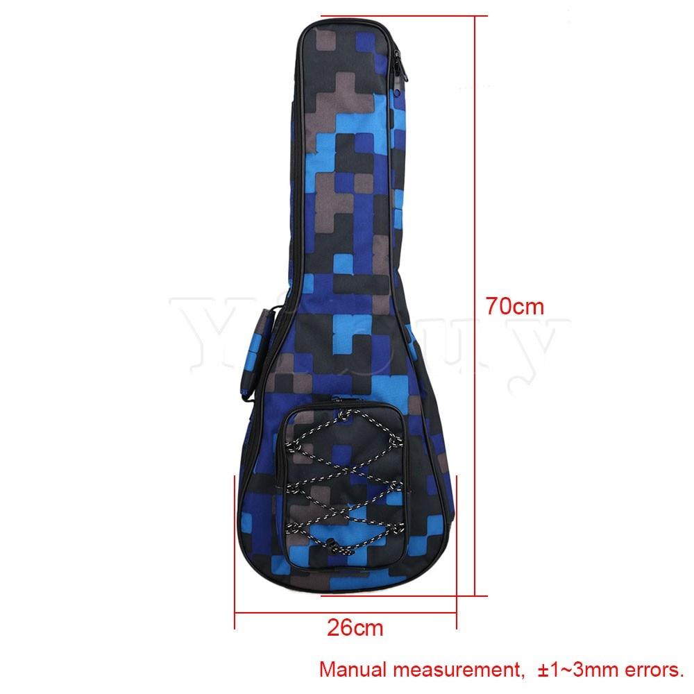 Yibuy 26 Blue Lattice Ukulele Double Shoulder Cotton Bag Carrying Backpack Cover Adjustment Belt for 65