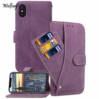 Wolfsay For Phone Cover Iphone X Case Silicone Scrub Leather Wallet Case For Apple Iphone X