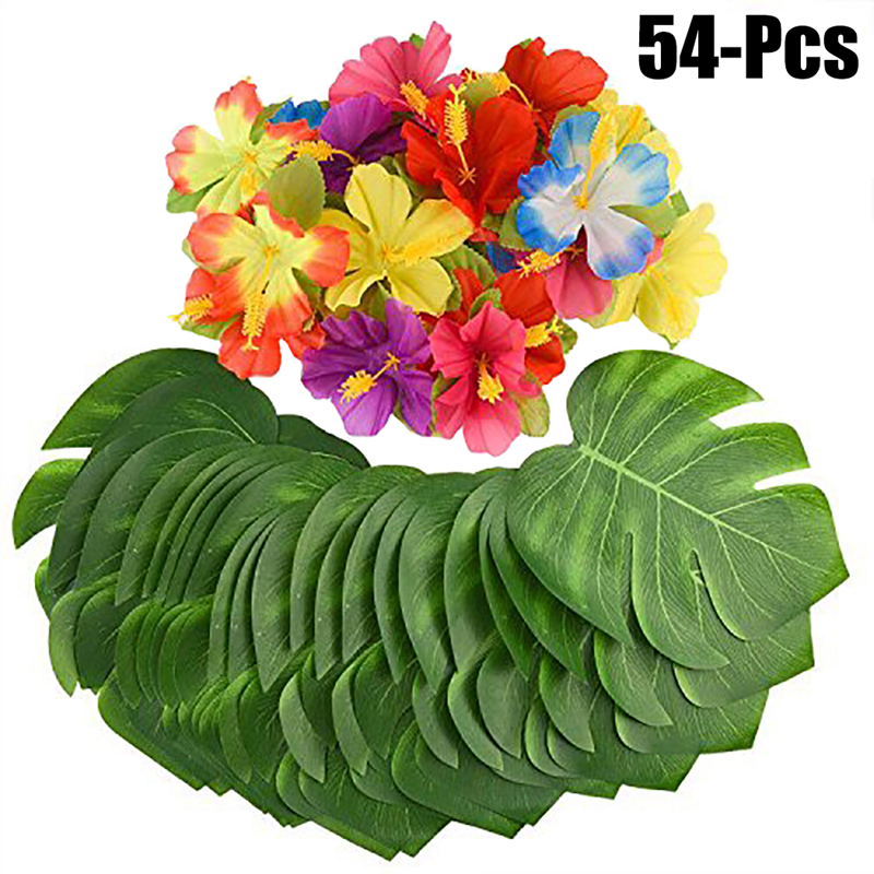 30pcs Leaves 24pcs Flowers Artificial Tropical Palm Leaves for Hawaii Luau party Decor Wedding Garden Leaf Beach Party Supplies