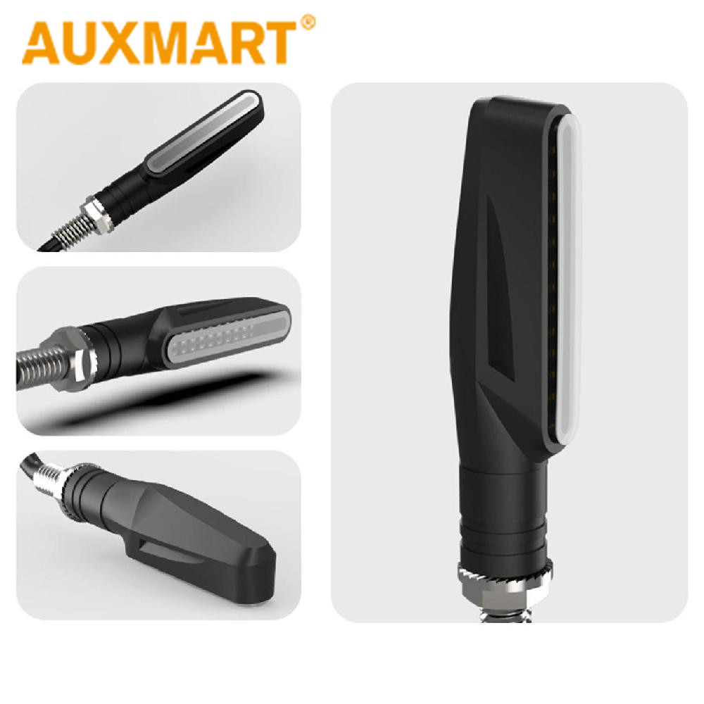 Auxmart 1pcs Motorcycle 12 LEDs Turn Signal Lamp Sequential Flowing Indicator Light 12V Amber