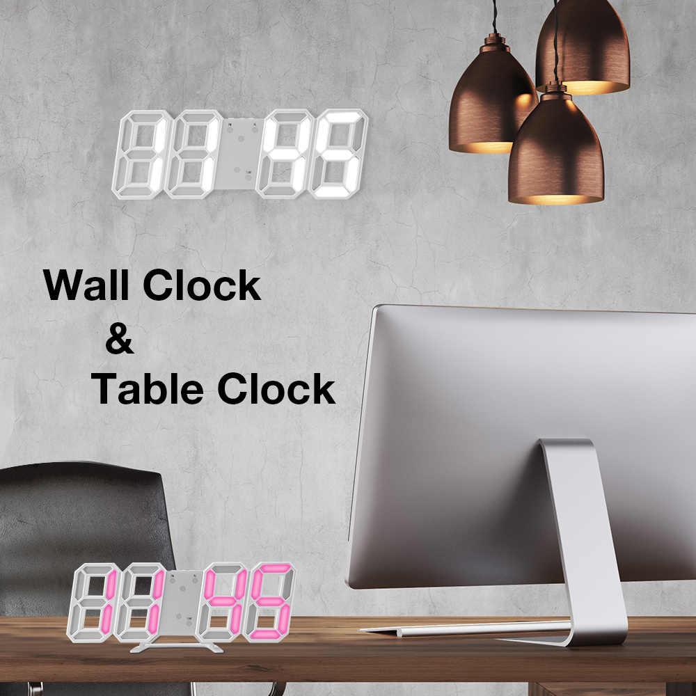 ¡Caliente! Tiempo grande LED Digital Reloj de pared alarma fecha temperatura retroiluminación automática Mesa decoración del hogar de escritorio soporte colgar reloj