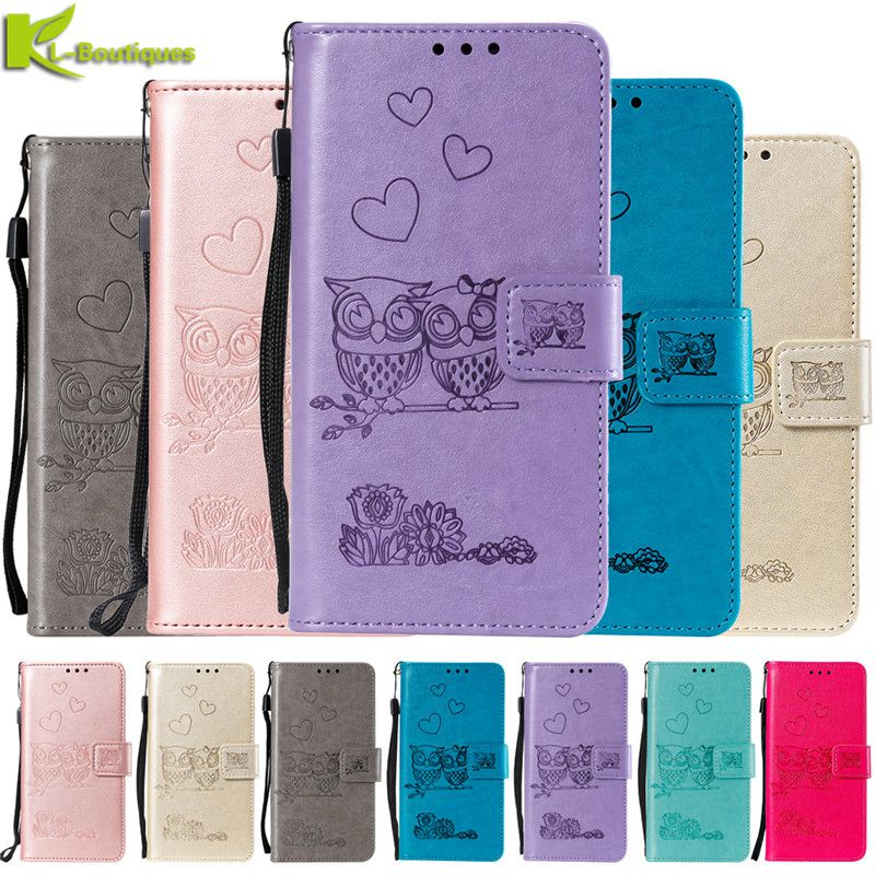 <font><b>Huawei</b></font> Y5 Lite 2018 Leather Case on For Fundas <font><b>Huawei</b></font> Y5 Lite 2018 <font><b>DRA</b></font>-<font><b>L21</b></font> <font><b>DRA</b></font>-LX2 <font><b>DRA</b></font>-LX5 Cover 3D Owl Flip Wallet Phone Cases image