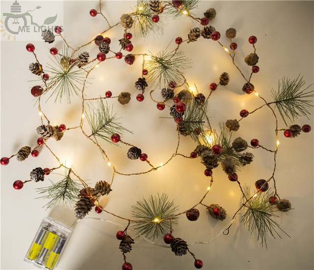 red berry christmas garland lights led copper fairy lights pinecone string lights for xmas holiday tree