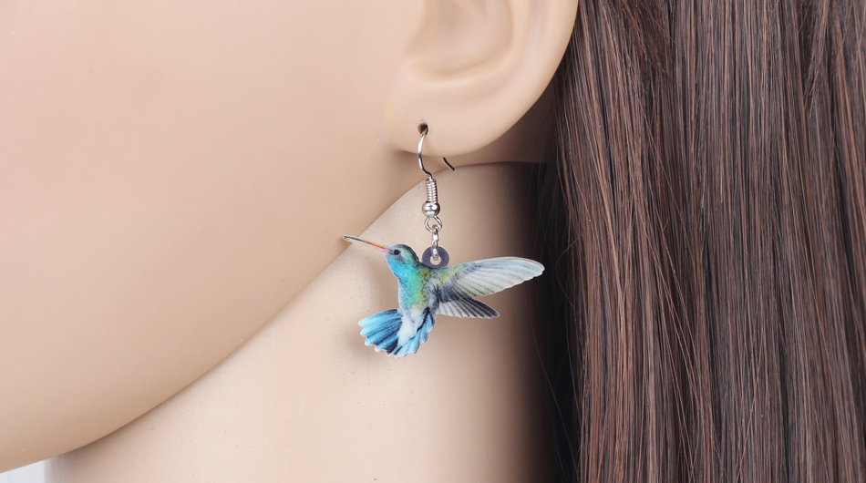 Bonsny Acrylic Flying Voilet Sabrewing Hummingbird Bird Earrings Big Long Dangle Drop Fashion Animal Jewelry For Women Girls Kid 5