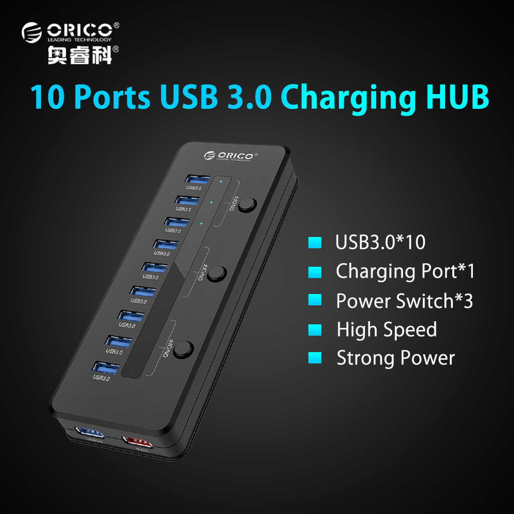 ORICO Super Speed USB 3.0 10 Port 5V2.1A Smart Charging HUB with 3 Switch with Power Adapter Black-(H10C1-U3) unitek y 3042 super speed 4 port usb 3 0 hub w power adapter black