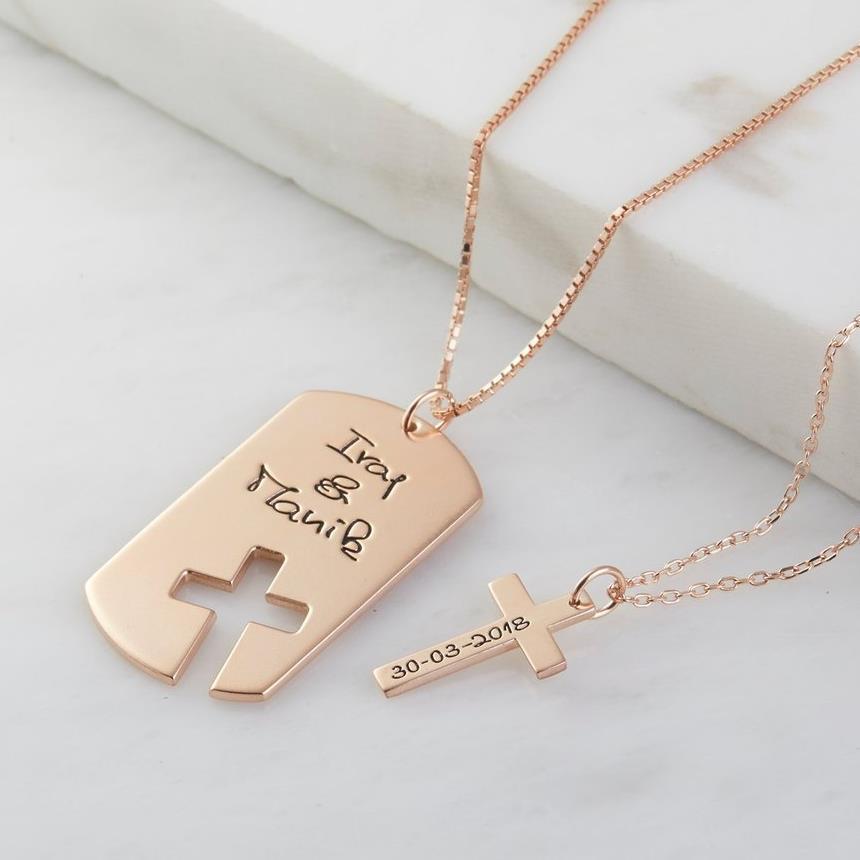 Personnalisé croix collier hommes réelle écriture Couple collier chien Tag coordonnée collier personnalisé nom hommes bijoux cadeau