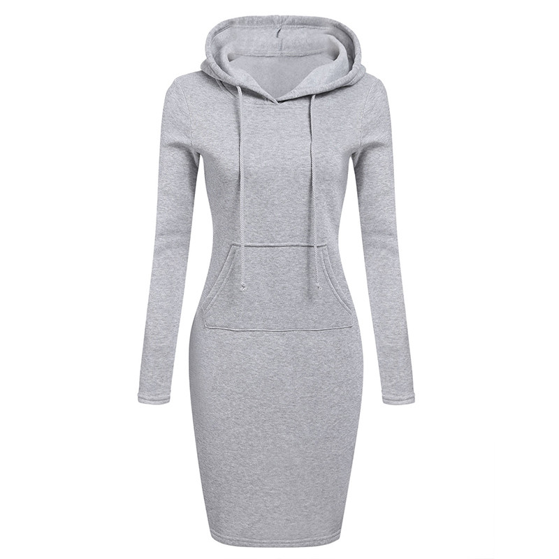 Autumn Winter Warm Sweatshirt Long-sleeved Dress Hot Woman Clothing Hooded Collar Pocket Design Simple Woman Dress Vestidos