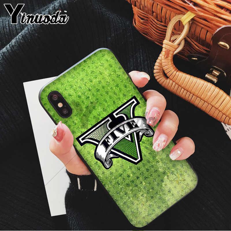 Yinuoda Gta 5 แกรนด์ขโมยอัตโนมัติ V TPU ยางนุ่มสำหรับ iPhone 8 7 6 6S plus 5 5S SE XR X XS MAX Coque Shell