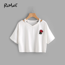 4e471f258f5f ROMWE Women T shirts Cut Out Rose Embroidered Patch Tee White V Neck Short  Sleeve