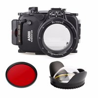 DHL 40m 130ft Waterproof Underwater Diving Camera Case For Sony A5000 16-50mm + 67mm Fisheye Lens dome port + 67mm Red Filter