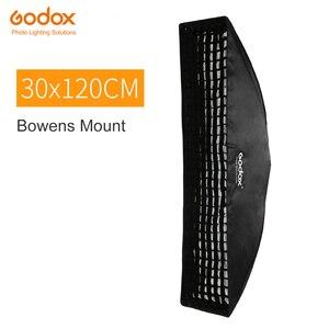 """Image 1 - Godox 12 """"x 47"""" 30x120cm taśma o strukturze plastra miodu prostokątna Softbox do zdjęć stroboskopowe błyskanie studyjne Softbox Bowens Mount"""