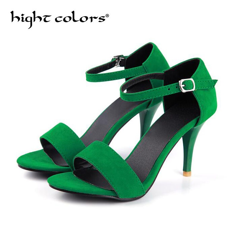 New Fashionable Sexy Design Women Line Style Buckle Thin High Heels Purple Green Faux Suede Open Toe Sandals For Women 21cm~29cm fashionable women s sandals with platform and hollow out design